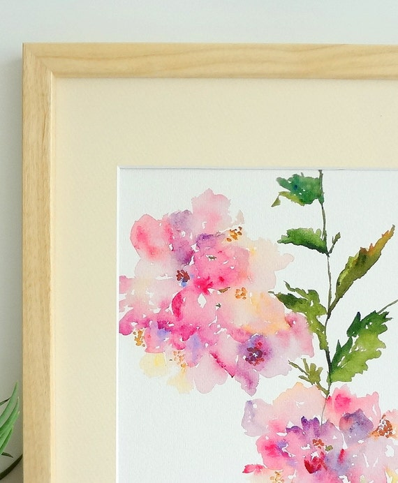 Hydrangea Flower Watercolor Fine Art Print 8x10 Watercolor