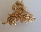 Etsy Vintage Crown Trifari Brooch Leaf and Faux Pearls                1950s Jewelry.  SALE plus FREE SHIPPING