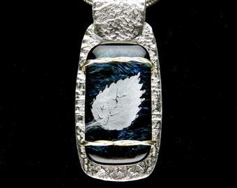 Fine Silver Dichroic Fused Glass Wire Wrapped Pendant