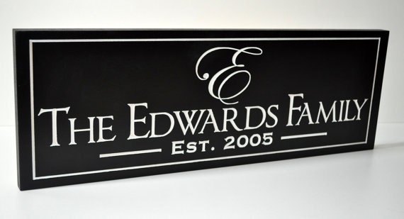 7x20 Carved Personalized Family Name Sign Custom Made Just for you. Makes a great wedding or anniversary gift