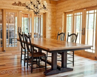 Wormy Chestnut Reclaimed Trestle Dining Table