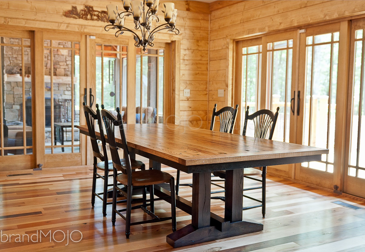 Reclaimed trestle dining table wormy chestnut barnwood dining for Wood dining room furniture