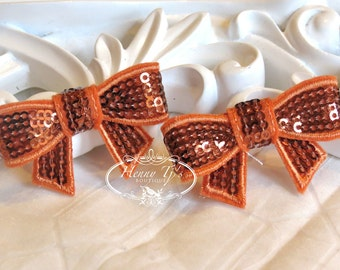 New to the Shop: Set of 4 Rust Brown / Terra Cotta Mini SEQUIN BOW Appliques 2 inch size. Sequin Bow Knot Applique. DIY Supplies.