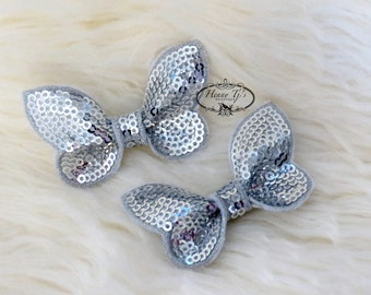 New: Set of 4 Silver SEQUIN Butterfly BOW Appliques 2.25 inch size. Sequin Bow Knot Applique. DIY Supplies.