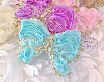 You PICK CoLoRs : 12 or 24 pcs Gold and Sequins trimmed Chiffon Polyester Fabric Butterfly Bow Appliques. Hair accessories