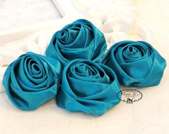 Set of 4 -  50mm Adorable Rolled Satin Rose Rosettes Fabric flowers - TEAL Green