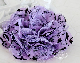 "NEW : 2 pieces 3.5"" Shabby Chic Frayed Chiffon Mesh and Lace Rose Fabric Flower - Violet Glittered Swirl Damask w/ black Lace"