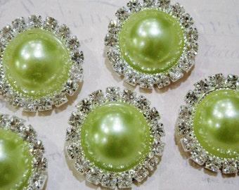 5 pcs - 20mm Silver Metal LIME Green Pearl (no.8) Crystal Rhinestone Buttons Embellishments w/ shank - wedding / hair / Flower Center
