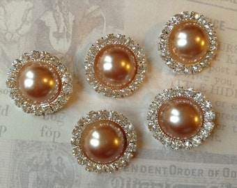 5 pcs - 20mm Silver Metal COPPER Pearl (no.4) Crystal Rhinestone Buttons Embellishments w/ shank - wedding / hair / Flower Center