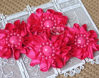 4 pcs Fabric Flowers - 2.5 inches HOT PINK Satin Shabby floral embellishments fabric flowers with rhinestone and beaded pearl centers