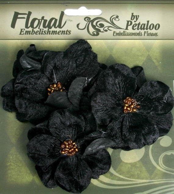 20% OFF: 2 packs Fabric Flowers Velvet Wild Roses - BLACK floral embellishments Layered fabric flowers with beaded centers