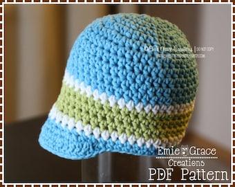 Crochet Newsboy Hat Pattern, 8 Sizes from Newborn to Adult, BRENDAN - pdf 402