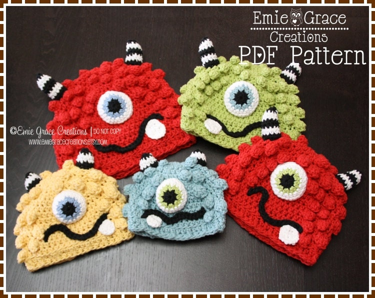 Crochet Monster Hat Pattern Silly Beanie BRONSTER and MISSY