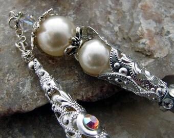 Wedding Hair Stick Bridal Hair Pin Swarovski Crystal and Cream Pearls for the Bride - Wedding Hair Accessories - Nadine 2556