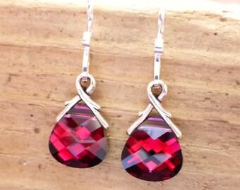 Ruby Red Swarovski Crystal Briolette Earrings, Garnet Magenta Red Crystal Sterling Silver Earrings, Valentines Day Gift, January Birthstone