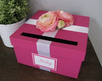 Wedding Card Box Bridal Shower Small Intimate Wedding Baby Shower Card Box  Fuchsia Pink With Personalized