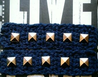 Indigo rinse denim studstix crochet earrings by ReBelle