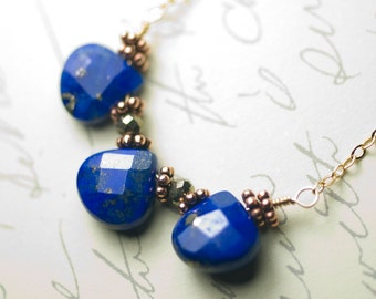 "Blue Lapis Lazuli Trio Pendant 14k Gold-Filled Necklace - Pyrite, Denim, Ultramarine, Deep Blue, Cobalt, September Birthstone - ""Night Sky"""