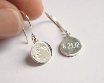 UNDER THIS MOON / Earrings - Personalized lunar charms of your special night in sterling silver, dainty, delicate