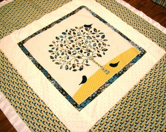 Minky Crib Blanket with Leafy Tree