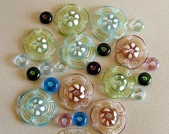 Lampwork Glass Flowers Beads, FREE SHIPPING,Multi Colored Handmade Glass Donuts Beads - Rachelcartglass