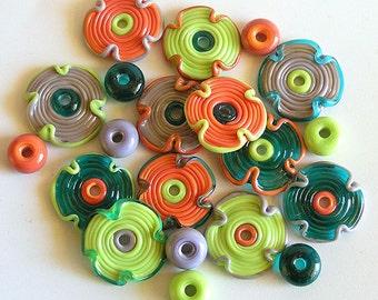 Lampwork Flowers Glass Beads, FREE SHIPPING, Multicolored Handmade Glass Beads, Rachelcartglass