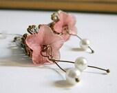 ON SALE Earrings. Jewelry, Gorgeous, Flower, Dangle, OOAK, Pink, For Her.