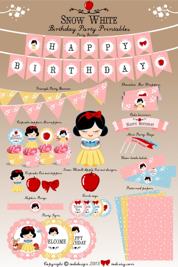 Cute Little Princess Theme Party Printables INSTANT Download by Todi ...