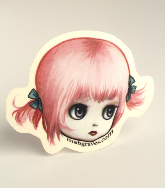 TWO LEFT - Pinky - Sass pot queen Blythe vinyl silkscreen sticker - by Mab Graves