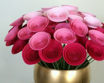 Pink Ombre Bouquet made with Mini Pink Paper Flowers