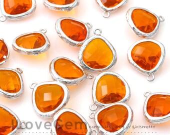 SALE/ 10pcs / G0130 Rhodium plated, Orange, Glass fancy rosecut 13mm