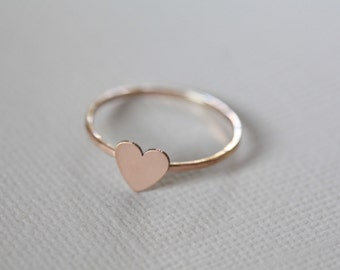 tiny heart ring, dainty ring - rose gold ring
