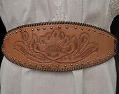 Vintage 70s Leather Belt // Vintage STUDDED and TOOLED LEATHER Belt Artisan