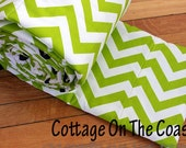 Chevron Apple Green Bumper Pad- Green and White Cevron with Navy Ties- MADE TO ORDER