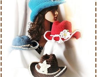 COWBOY Crochet Hat Pattern Size Newborn to Adult Boutique Design - No. 53 by AngelsChest