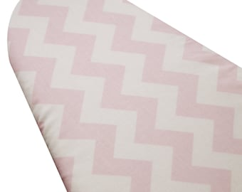 PADDED Ironing Board Cover made with Riley Blake light pink and white chevron standard size 15 x 54