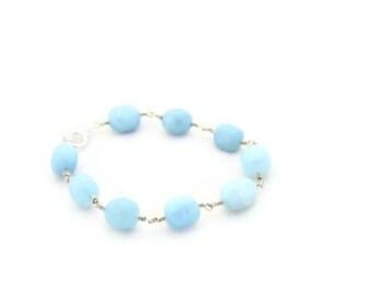 Aquamarine Wire Wrapped Bracelet