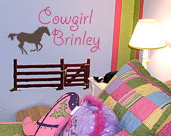 Cowgirl Horse PERSONALIZED Name 42x22 Vinyl Wall Decal Home Decor Art Words