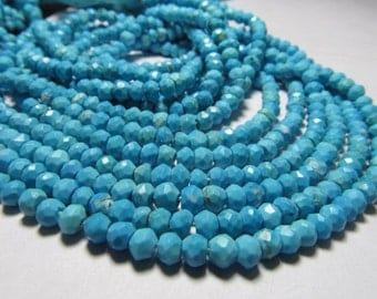 2x14 Inches So Gorgeous - Sleeping Beauty - Natural TOURQUISE - Micro Faceted Rondell Beads size 3.5 - 4  mm approx