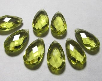 4 Matched Pair - AAAA - High Quality Gorgeous Beer colour Quartz Pear Briolett Super Sparkle Huge size - 10x18 mm - drilled