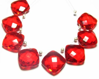 4 Matched Pair - Super Sparkle - Red RUBY QUARTZ - Faceted Cushion Briolett Huge size 13x13 mm - Drilled