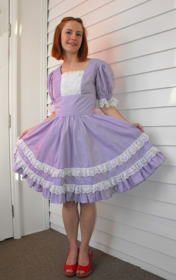 Vintage Dress Square Dance Purple White Lace Rockabilly Full Skirt Dancing