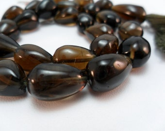 Gemstone Bead, Olive Quartz Center Drill Beads, Smooth Tear Drop Pendant, Focal Bead, 12-14x8-9mm Priced for 3