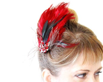 Romantic Red Feather Fascinator.  Made from Vintage Rhinestone Earrings.