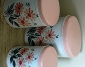 Reserved for Julie Sale 15 percent Off ... 3 Pce PINK lids FLORAL CANNISTER Set ... Vintage household kitsch