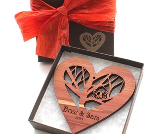 Rooted - Wood Heart Ornament with Engraved Gift Box - Custom Engraved Sustainable Harvest Wisconsin Wood