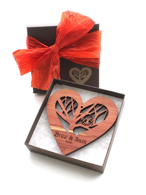 Rooted - Wood Heart Wedding Gift Ornament with Engraved Gift Box - Custom Engraved Sustainable Harvest Wisconsin Wood