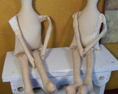 "2 Primitive CLOTH DOLL BODY-Bodies-tea stained-muslin-14""-15"" form-Santa"