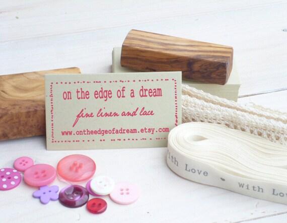 Slightly Dotty Frame 3/4 Line Olive Wood Business Stamp