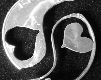 Yin Yang Interlocking Set Hand Cut Coin Jewelry